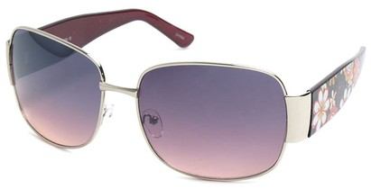 Angle of SW Floral Aviator Style #60846 in Silver and Brown Frame, Women's and Men's