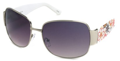 Angle of SW Floral Aviator Style #60846 in Silver and White Frame, Women's and Men's