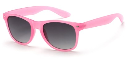 Angle of Gullfoss #1453 in Light Pink Frame with Smoke Lenses, Women's Retro Square Sunglasses