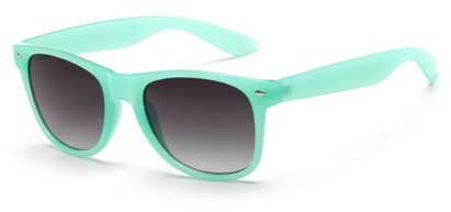 Angle of Gullfoss #1453 in Mint Green Frame with Smoke Lenses, Women's Retro Square Sunglasses