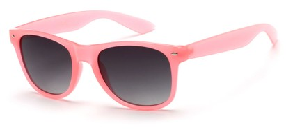 Angle of Gullfoss #1453 in Coral Pink Frame with Smoke Lenses, Women's Retro Square Sunglasses