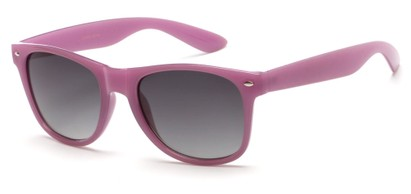 Angle of Gullfoss #1453 in Light Purple Frame with Smoke Lenses, Women's Retro Square Sunglasses