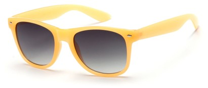 Angle of Gullfoss #1453 in Orange/Yellow Frame with Smoke Lenses, Women's Retro Square Sunglasses