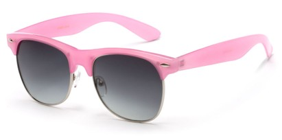 Angle of Caspian #8403 in Light Pink Frame with Smoke Lenses, Women's Browline Sunglasses