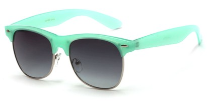 Angle of Caspian #8403 in Mint Green Frame with Smoke Lenses, Women's Browline Sunglasses