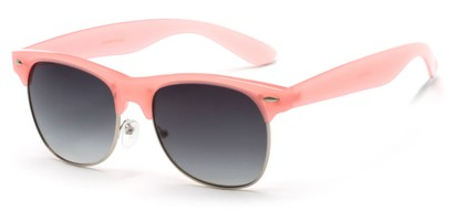 Angle of Caspian #8403 in Coral Pink Frame with Smoke Lenses, Women's Browline Sunglasses