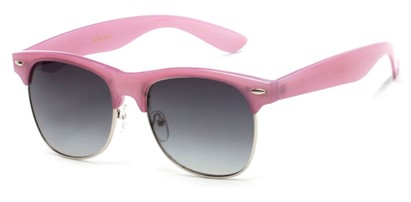 Angle of Caspian #8403 in Light Purple Frame with Smoke Lenses, Women's Browline Sunglasses
