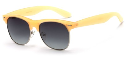 Angle of Caspian #8403 in Orange/Yellow Frame with Smoke Lenses, Women's Browline Sunglasses