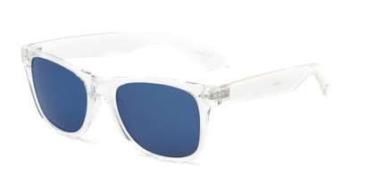 Angle of Jackson in Clear Frame with Blue/Grey Mirrored Lenses, Women's and Men's Retro Square Sunglasses