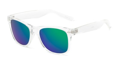Angle of Jackson in Clear Frame with Blue/Green Mirrored Lenses, Women's and Men's Retro Square Sunglasses