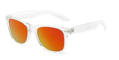 Angle of Jackson in Clear Frame with Yellow/Orange Mirrored Lenses, Women's and Men's Retro Square Sunglasses
