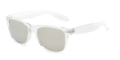 Angle of Jackson in Clear Frame with Silver Mirrored Lenses, Women's and Men's Retro Square Sunglasses