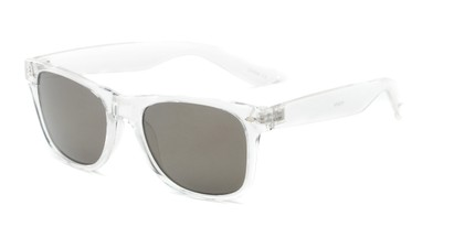 Angle of Jackson in Clear Frame with Grey/Gold Mirrored Lenses, Women's and Men's Retro Square Sunglasses