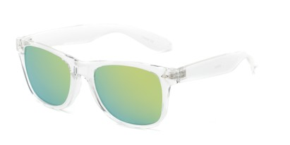Angle of Jackson in Clear Frame with Yellow/Blue Mirrored Lenses, Women's and Men's Retro Square Sunglasses