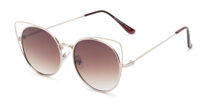 Angle of Jocelyn #4202 in Gold Frame with Amber Lenses, Women's Cat Eye Sunglasses
