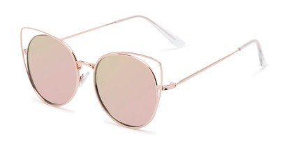 Angle of Jocelyn #4202 in Gold Frame with Pink Mirrored Lenses, Women's Cat Eye Sunglasses