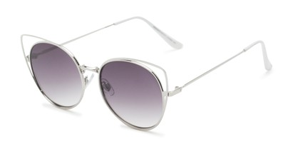 Angle of Jocelyn #4202 in Silver Frame with Smoke Lenses, Women's Cat Eye Sunglasses