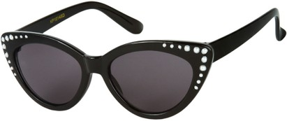 Angle of SW Kid's Cat Eye Style #2280 in Black Frame with Smoke Lenses, Women's and Men's