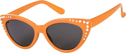 Angle of SW Kid's Cat Eye Style #2280 in Orange Frame with Smoke Lenses, Women's and Men's