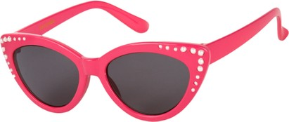 Angle of SW Kid's Cat Eye Style #2280 in Pink Frame with Smoke Lenses, Women's and Men's