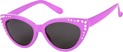 Angle of SW Kid's Cat Eye Style #2280 in Purple Frame with Smoke Lenses, Women's and Men's
