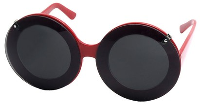 Angle of SW Celebrity Style #513 in Red Frame with Clear Lenses, Women's and Men's