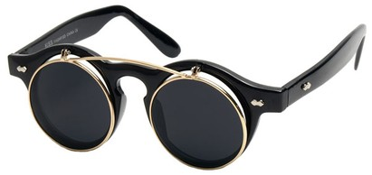 Angle of SW Flip-up Style #1142 in Black Frame with Gold, Women's and Men's