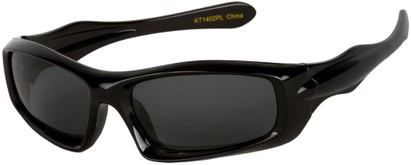 Angle of SW Kid's Polarized Style #803 in Black Frame with Grey Lenses, Women's and Men's