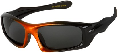 Angle of SW Kid's Polarized Style #803 in Black/Orange Frame with Grey Lenses, Women's and Men's