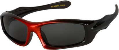 Angle of SW Kid's Polarized Style #803 in Black/Red Frame with Grey Lenses, Women's and Men's