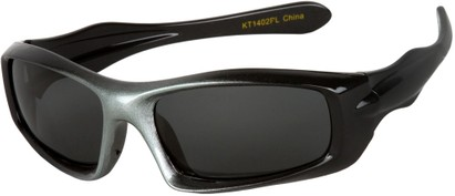 Angle of SW Kid's Polarized Style #803 in Black/Grey Frame with Grey Lenses, Women's and Men's
