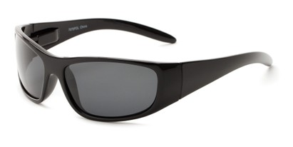 Angle of Kingston #7075 in Black Frame with Smoke Lenses, Women's and Men's Sport & Wrap-Around Sunglasses