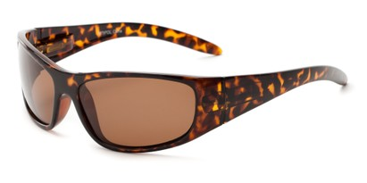 Angle of Kingston #7075 in Tortoise Frame with Brown Lenses, Women's and Men's Sport & Wrap-Around Sunglasses