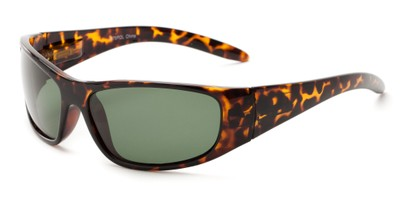 Angle of Kingston #7075 in Tortoise Frame with Green Lenses, Women's and Men's Sport & Wrap-Around Sunglasses