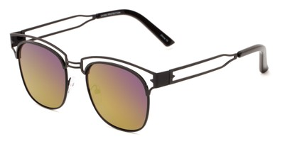 Angle of Alta #4020 in Black Frame with Purple/Green Mirrored Lenses, Women's Browline Sunglasses