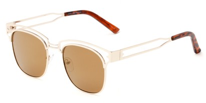 Angle of Alta #4020 in Gold Frame with Gold Mirrored Lenses, Women's Browline Sunglasses