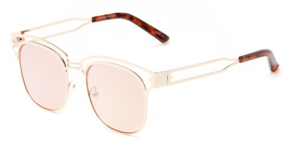 Angle of Alta #4020 in Gold Frame with Pink Mirrored Lenses, Women's Browline Sunglasses