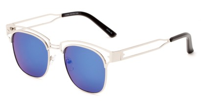 Angle of Alta #4020 in Silver Frame with Blue Mirrored Lenses, Women's Browline Sunglasses