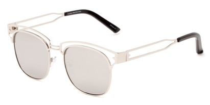 Angle of Alta #4020 in Silver Frame with Silver Mirrored Lenses, Women's Browline Sunglasses