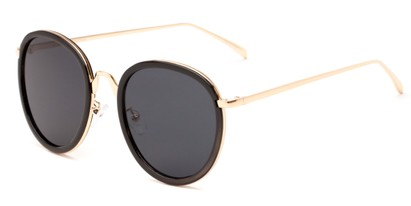 Angle of Deboce #4027 in Black/Gold Frame with Grey Lenses, Women's Round Sunglasses