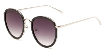 Angle of Deboce #4027 in Black/Silver with Smoke Lenses, Women's Round Sunglasses