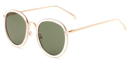 Angle of Deboce #4027 in Clear/Gold with Green Lenses, Women's Round Sunglasses