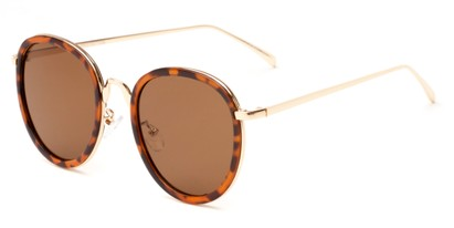 Angle of Deboce #4027 in Tortoise/Gold with Amber Lenses, Women's Round Sunglasses
