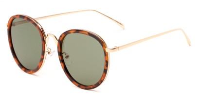 Angle of Deboce #4027 in Tortoise/Gold with Green Lenses, Women's Round Sunglasses