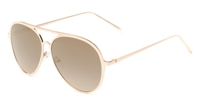 Angle of Mackey #4050 in Rose Gold Frame with Gold Mirrored Lenses, Women's and Men's Aviator Sunglasses