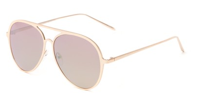 Angle of Mackey #4050 in Rose Gold Frame with Pink Mirrored Lenses, Women's and Men's Aviator Sunglasses