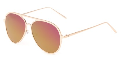 Angle of Mackey #4050 in Rose Gold Frame with Purple/Yellow Mirrored Lenses, Women's and Men's Aviator Sunglasses
