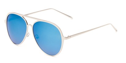 Angle of Mackey #4050 in Silver Frame with Blue Mirrored Lenses, Women's and Men's Aviator Sunglasses