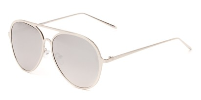 Angle of Mackey #4050 in Silver Frame with Silver Mirrored Lenses, Women's and Men's Aviator Sunglasses