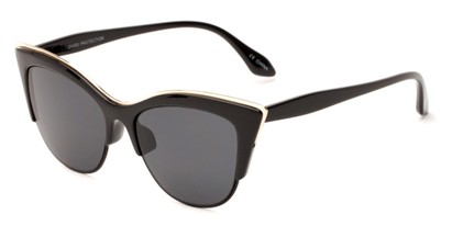 Angle of Laurel #6782 in Black/Gold Frame with Grey Lenses, Women's Cat Eye Sunglasses